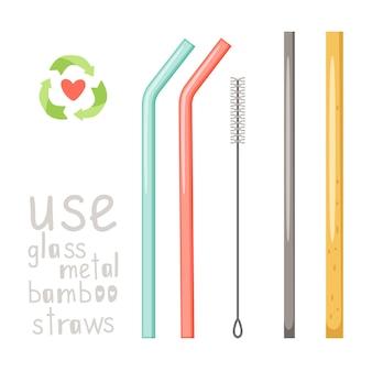 Ręcznie rysowane zestaw słomy szkła, metalu i bambusa na białym tle
