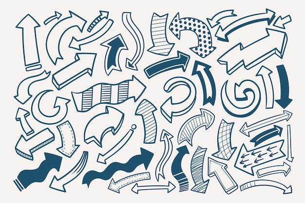 Ręcznie rysowane zestaw strzałek w stylu