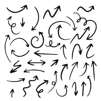 Ręcznie rysowane zestaw strzałek