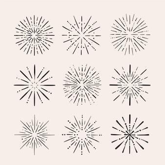 Ręcznie rysowane zestaw sunburst w stylu