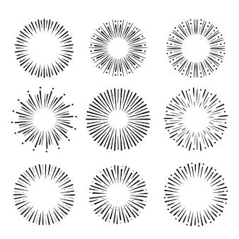 Ręcznie rysowane zestaw sunburst