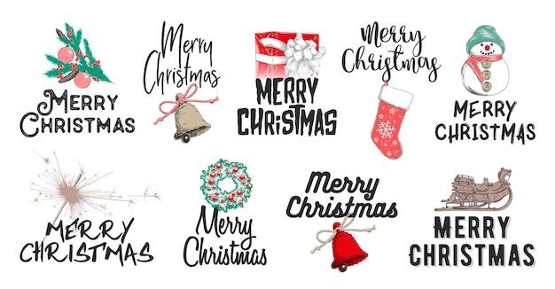 Ręcznie rysowane zestaw świąt bożego narodzenia i nowego roku