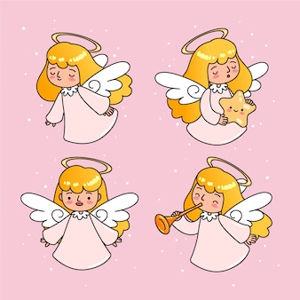 Ręcznie rysowane zestaw świąteczny anioł