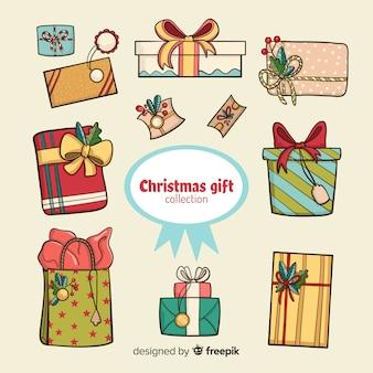 Ręcznie rysowane zestaw świątecznych prezentów