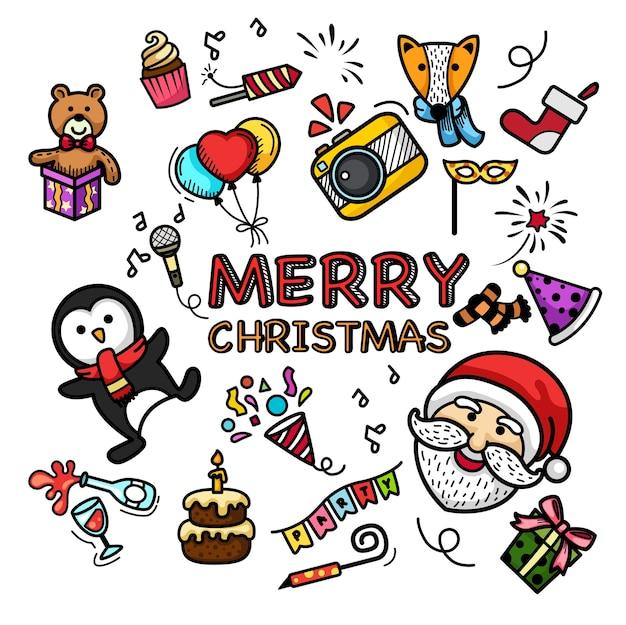 Ręcznie rysowane zestaw szczęśliwego nowego roku i wesołych świąt
