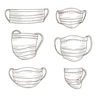 Ręcznie rysowane zestaw szkiców maski medyczne