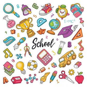 Ręcznie rysowane zestaw szkolnych doodli