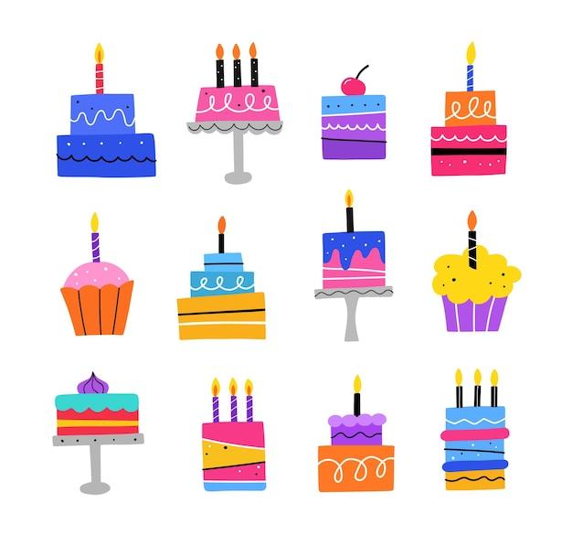 Ręcznie rysowane zestaw tortów urodzinowych. ciasto z uroczystymi świeczkami
