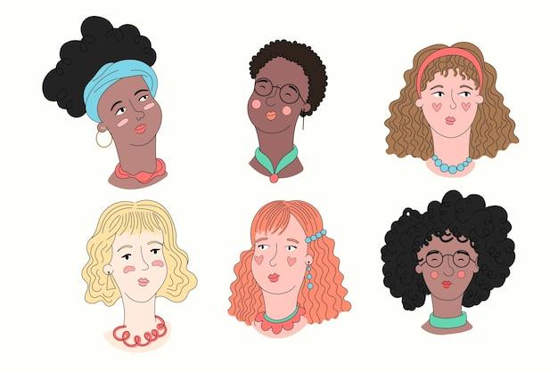 Ręcznie rysowane zestaw typów włosów kręconych