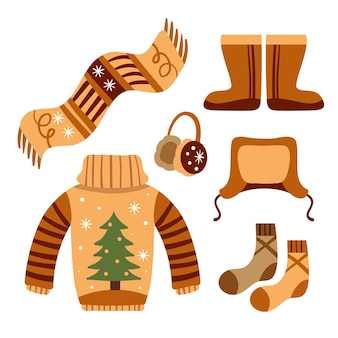 Ręcznie rysowane zestaw ubrań zimowych