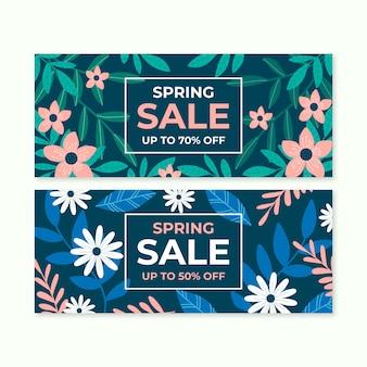 Ręcznie rysowane zestaw wiosna sprzedaż banerów