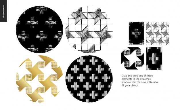 Ręcznie rysowane zestaw wzór - zaokrąglone