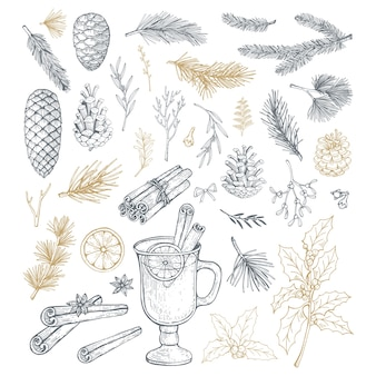 Ręcznie rysowane zestaw z elementami świątecznymi, szyszkami i gałęziami.