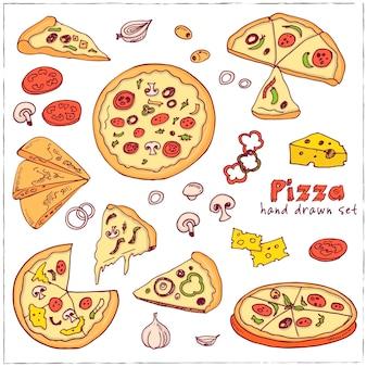 Ręcznie rysowane zestaw z menu projektowania ilustracji pizzy
