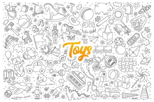 Ręcznie rysowane zestaw zabawek gryzmoły z żółtym napisem
