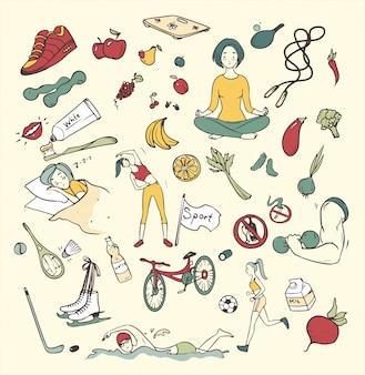 Ręcznie rysowane zestaw zdrowego stylu życia. kolekcja kolorowych ilustracji doodle z symbolami fitness, sport, owoce, joga. .