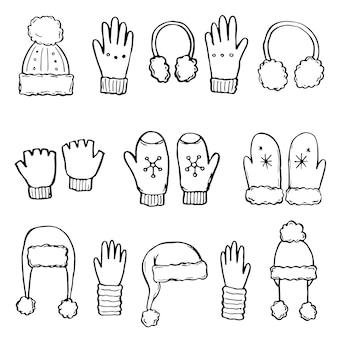 Ręcznie rysowane zestaw zimowych ubrań i akcesoriów: czapka, szalik, płaszcz, rękawica, buty, sweter. doodle styl szkic dla dzieci, projekt świąteczny. ilustracja na białym tle wektor.