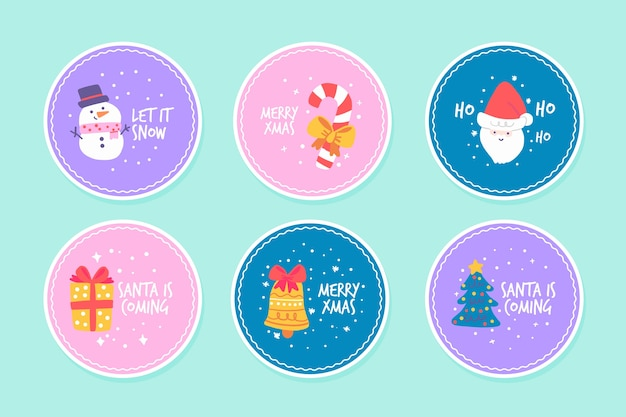 Ręcznie rysowane zestaw znaczków świątecznych
