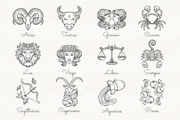 Ręcznie rysowane zestaw znaków zodiaku