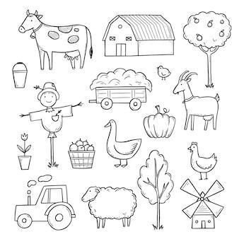 Ręcznie rysowane zestaw żywności rolnika zwierząt gospodarskich