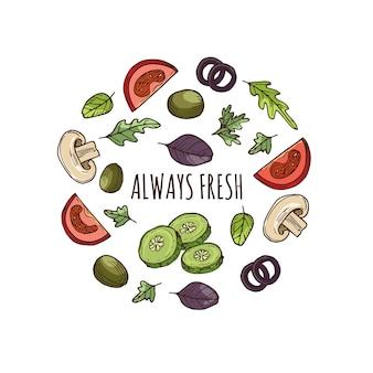 Ręcznie rysowane zieleni transparent wektor wzór. naszkicowane warzywa