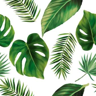 Ręcznie rysowane zielone liście akwarela bezszwowego wzoru