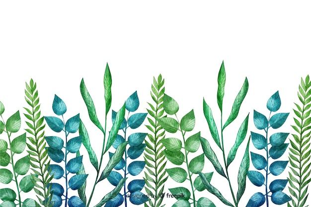 Ręcznie rysowane zielone liście linii