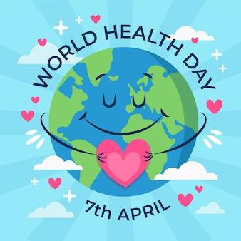 Ręcznie rysowane ziemi światowy dzień zdrowia