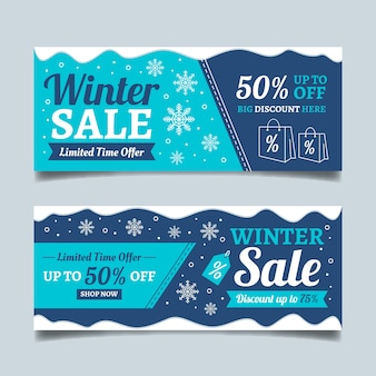 Ręcznie rysowane zima sprzedaż banerów szablon