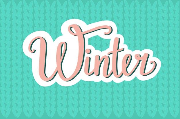 Ręcznie rysowane zimowe ilustracji wektorowych z napisem