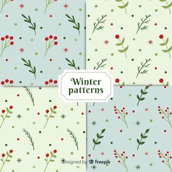 Ręcznie rysowane zimowe kwiaty wzór