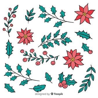 Ręcznie rysowane zimowe kwiaty
