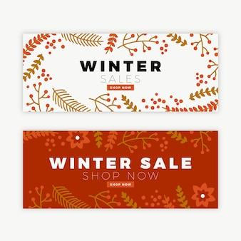 Ręcznie rysowane zimowe sprzedaż banerów