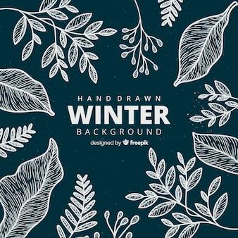 Ręcznie rysowane zimowe tło w stylu kwiatowym