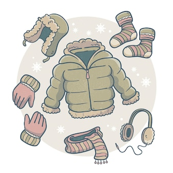 Ręcznie rysowane zimowe ubrania i niezbędne artykuły