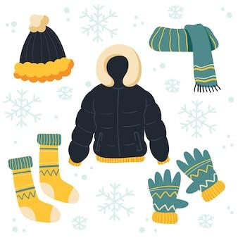 Ręcznie rysowane zimowe ubrania i pakiet niezbędnych akcesoriów