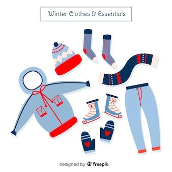 Ręcznie rysowane zimowe ubrania i podstawowe elementy kolekcji