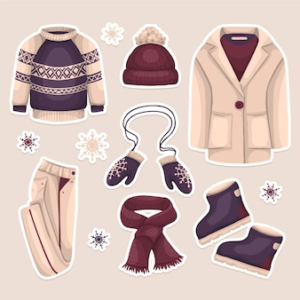 Ręcznie rysowane zimowe ubrania kolekcji