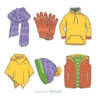 Ręcznie rysowane zimowe ubrania