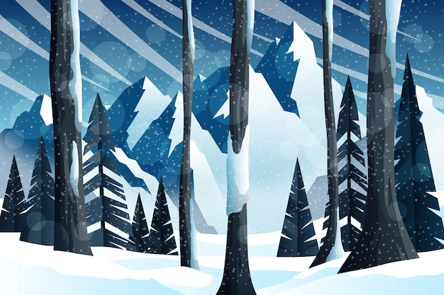 Ręcznie rysowane zimowy krajobraz