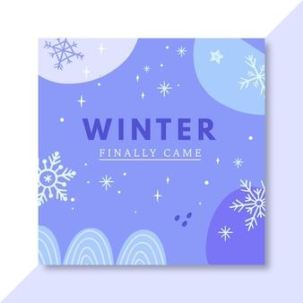 Ręcznie rysowane zimowy szablon postu na facebooku