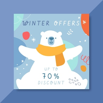 Ręcznie rysowane zimowy szablon postu na instagramie z niedźwiedziem polarnym