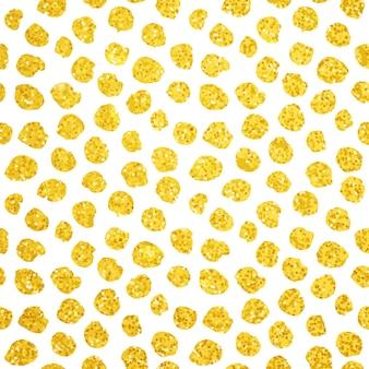 Ręcznie rysowane złote kropki wzór. ilustracja wektorowa pędzlem malowane tła.