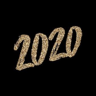 Ręcznie rysowane, złoty brokat napis 2020