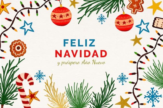 Ręcznie rysowane złoty feliz navidad