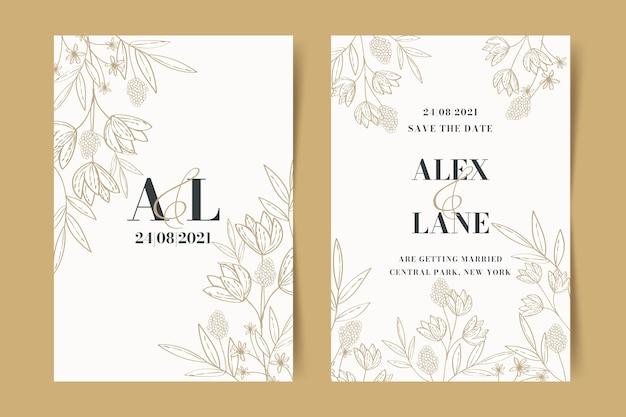 Ręcznie rysowane złoty szablon zaproszenia na ślub