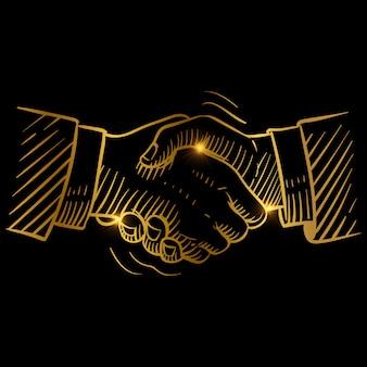 Ręcznie rysowane złoty uścisk dłoni
