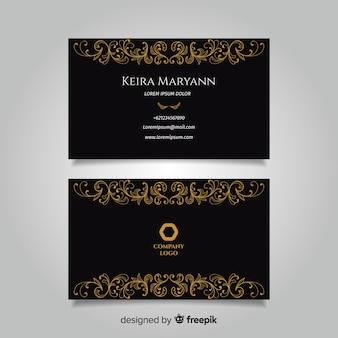 Ręcznie rysowane złoty wizytówki szablon