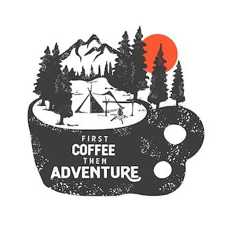 Ręcznie rysowane znaczek z górskiego krajobrazu i inspirujące napis