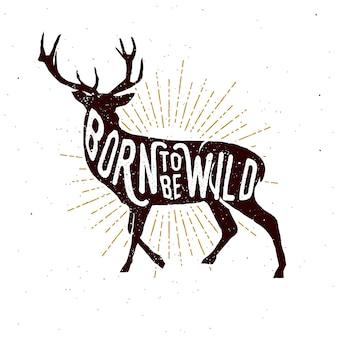 Ręcznie rysowane znaczek z jelenia sylwetka.